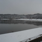 The lake in ths snow