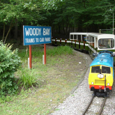 Robert with train at Woody Bay station